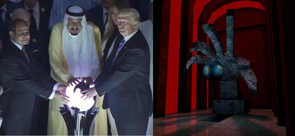 Donald Trump and the Saudi Arabians grasp the globe, as did the Illuminati in videogame Deus Ex
